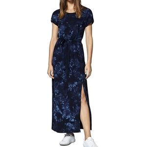 Sanctuary Isle Blue Maxi Belted T-Shirt Slit Dress